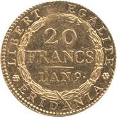 イタリア ピエモンテ共和国 20フラン金貨[EF+]【裏面】