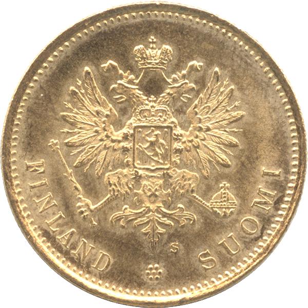 フィンランド大公国 ニコライ2世20マルカ金貨デザイン(表面)