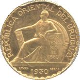 ウルグアイ 憲法100周年記念 20センテシモ試作金貨