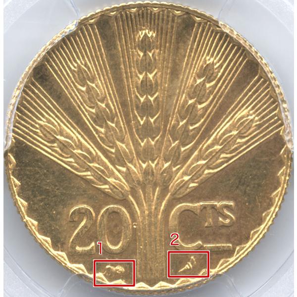 ウルグアイ 憲法100周年記念 20センテシモ試作金貨裏面のデザイン