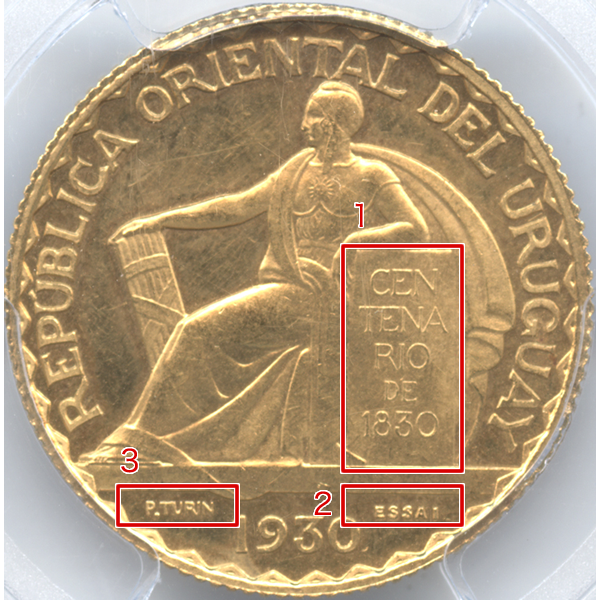 ウルグアイ 憲法100周年記念 20センテシモ試作金貨のデザイン【表面】