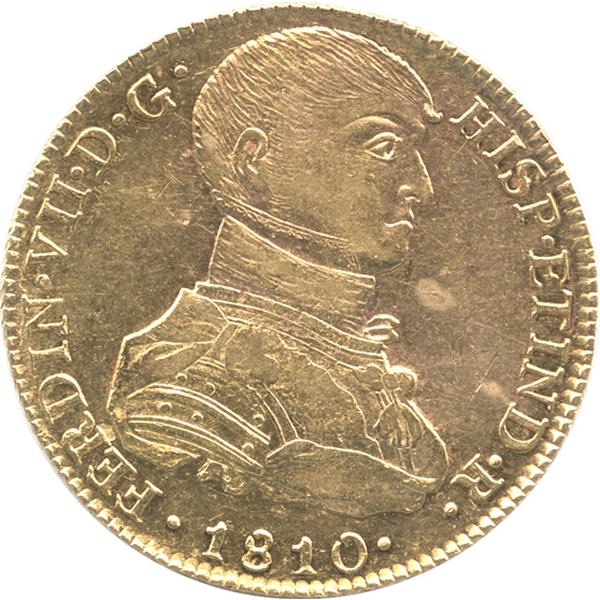 フェルディナンド7世 8エスクード金貨の表側のデザイン