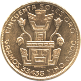 ペルー インディアンヘッド  50ソル金貨[FDC]【裏面】