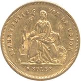 ペルー 女神座像 5ソル金貨[VF]