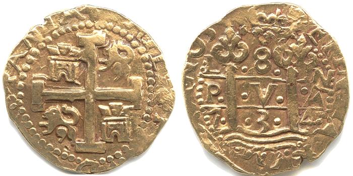 ペルー 8エスクード金貨 1734 コブタイプ フェリペ5世