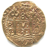 ペルー フェリペ5世 8エスクード金貨 コブタイプ[VF]【裏面】