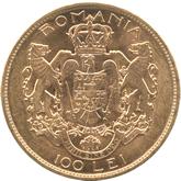 ルーマニア王・フェルディナンド1世 100Lei金貨[UNC]【裏面】