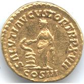 帝政ローマ アウレウス金貨 蛇を扱う女神サルス[EF]【裏面】
