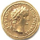 帝政ローマ アウレウス金貨 第2代皇帝ティベリウス[VF]