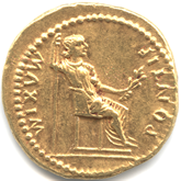 Roman Empire, Tiberius, Aureus, PONTIF MAXIM.Female seated[VF]【Back side】