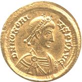 帝政ローマ ソリドゥス金貨  皇帝ホノリウス[EF]