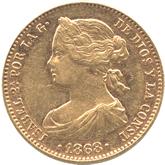 スペイン イサベル2世 10エスクード金貨[EF]