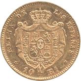 スペイン イサベル2世 10エスクード金貨[EF]【裏面】