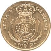 スペイン イサベル2世 100レアル金貨[EF]【裏面】