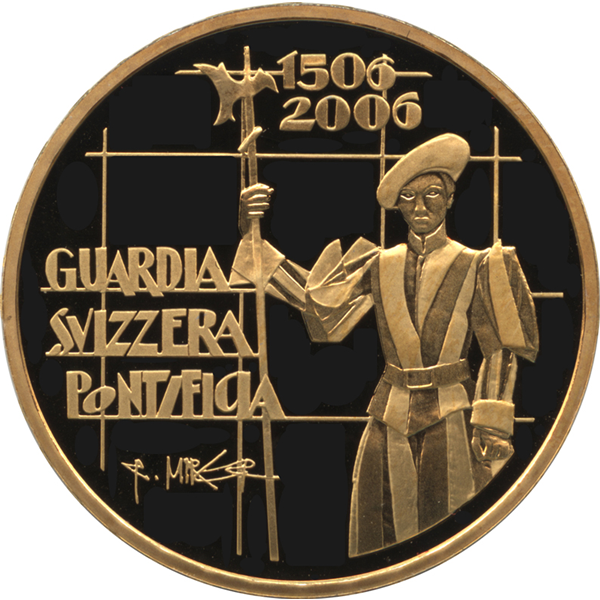 スイス 50フラン金貨 バチカンのスイス衛兵のデザイン