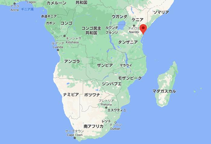 モンバサ島の地図