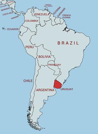 南米 ウルグアイの地図