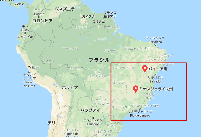 ブラジルのバイーア州とミナスジェライス州地図