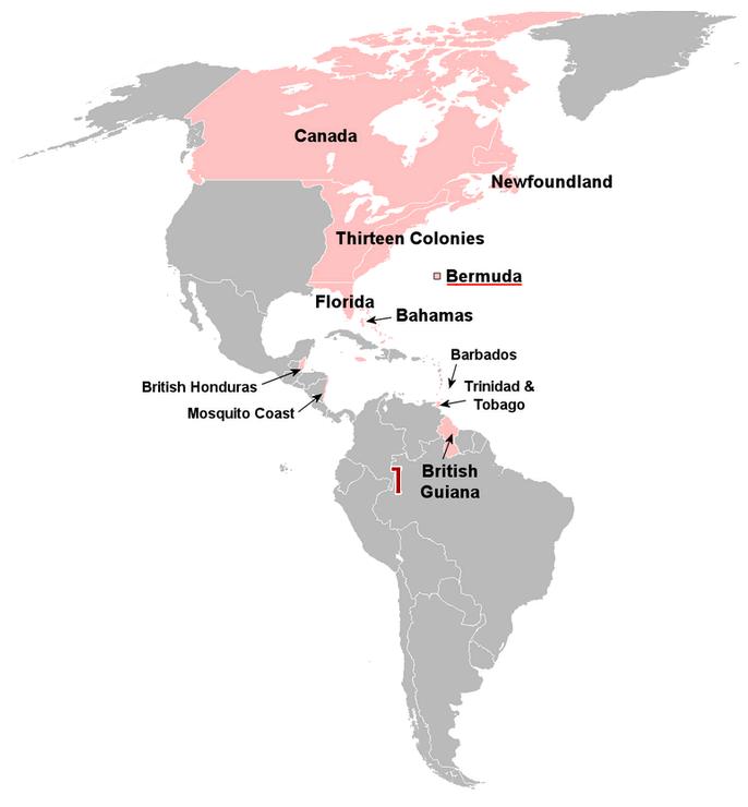 英領ギアナの地図
