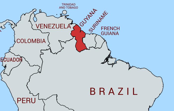 ガイアナの地図