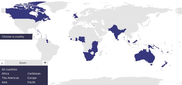 イギリス連邦に加盟国の地図