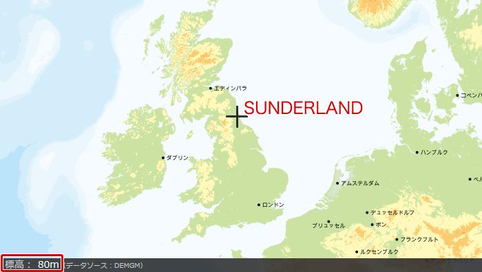 サンダーランドの地図