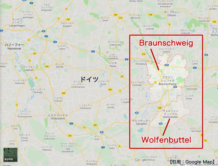ブラウンシュヴァイク・ヴォルフェンビュッテルの地図