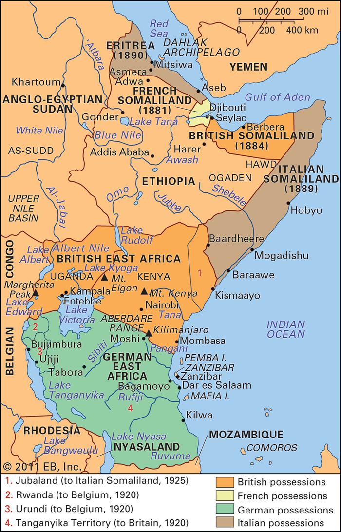 ドイツ領東アフリカの位置