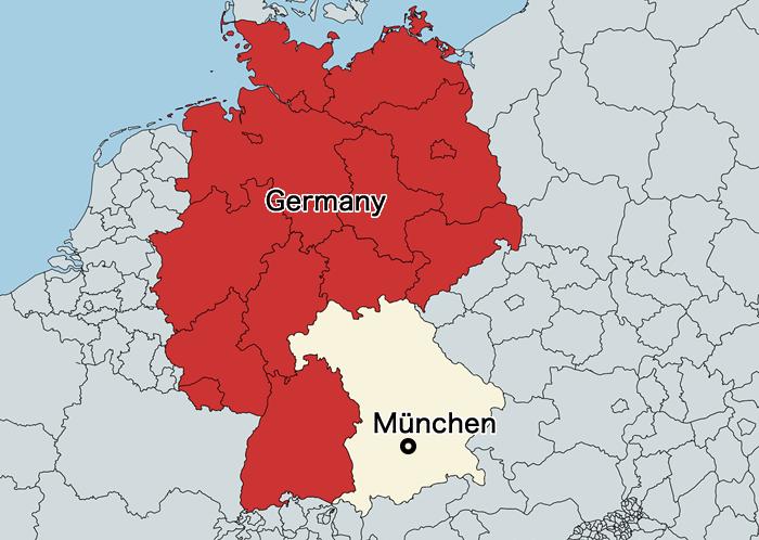 バイエルン王国の地図(現代版)
