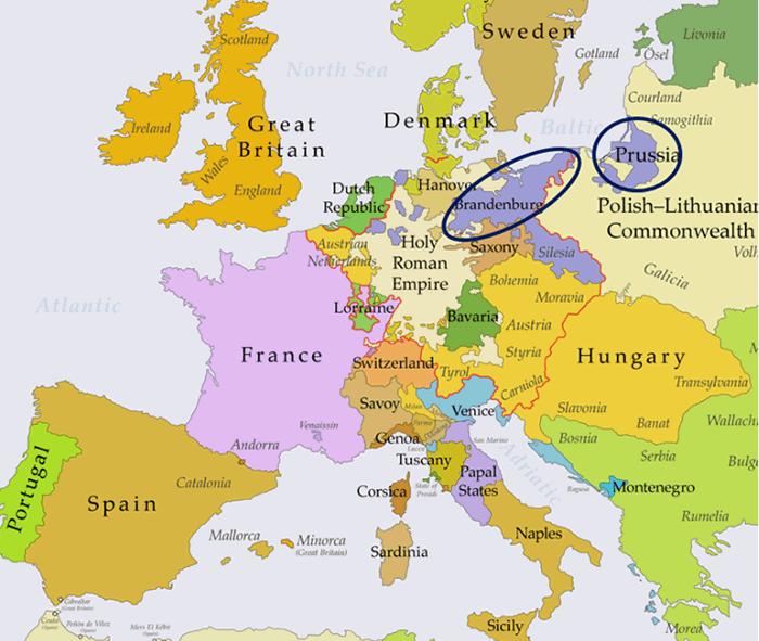 ブランデンブルク・プロイセンの地図(現代版)
