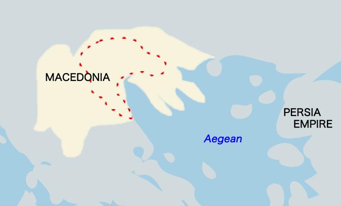 マケドニアの地図(紀元前334年頃)
