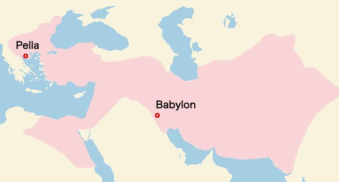 マケドニアの地図(アレクサンダー大王の東征後)