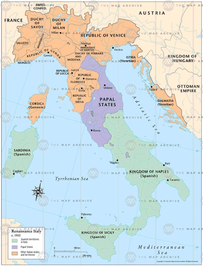 1500年頃のバチカン市国の地図