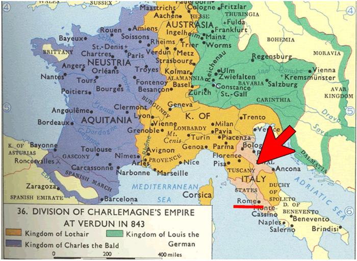 843年フランク王国の地図