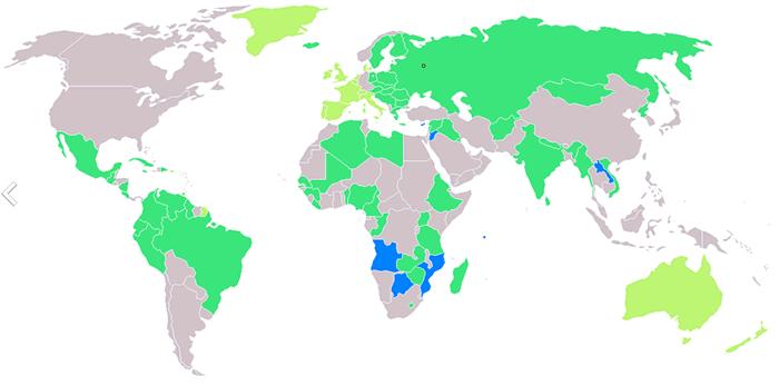 モスクワオリンピック参加国の地図