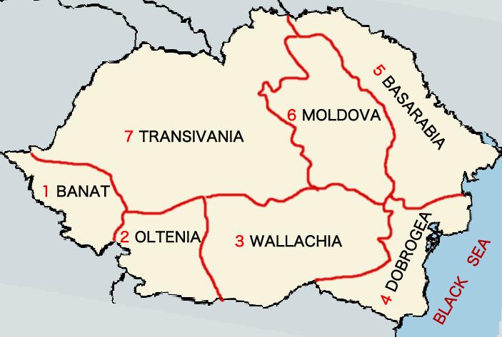 ルーマニアの各地方の領土