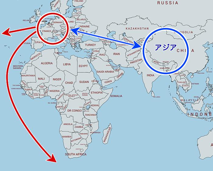 大航海時代前の陸路地図(アジア~ヨーロッパ)
