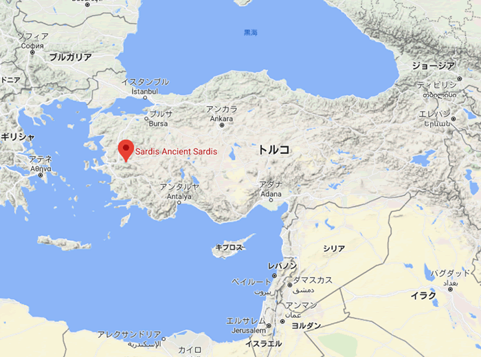 サルディス(トルコ)の地図