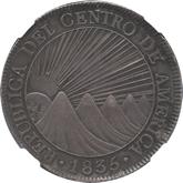 セントラルアメリカ 8レアル銀貨 太陽と山脈[AU/UNC]
