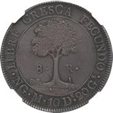 セントラルアメリカ 8レアル銀貨 太陽と山脈[AU/UNC]【裏面】