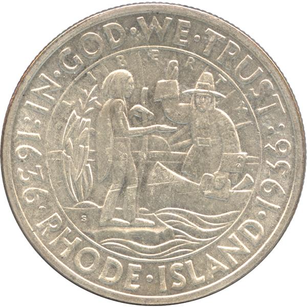 ロードアイランド300年記念銀貨のデザイン【表面】
