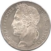 ベルギー 5フラン銀貨 レオポルド1世[FDC]