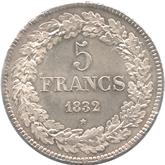 ベルギー 5フラン銀貨 レオポルド1世[FDC]【裏面】