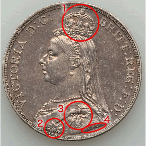 イギリス ヴィクトリア女王 クラウン銀貨【表】