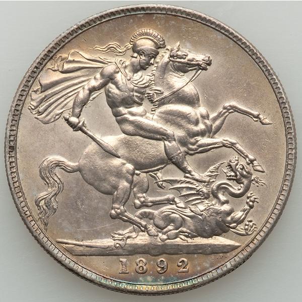 イギリス ヴィクトリア女王 クラウン銀貨の裏面