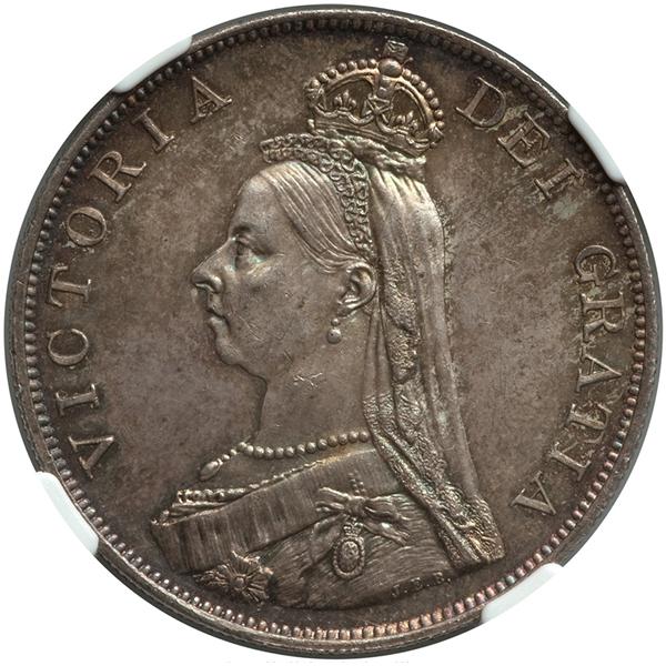 イギリス ヴィクトリア女王 ダブルフローリン銀貨【表】