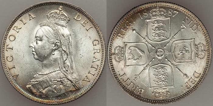 イギリス ヴィクトリア女王 フローリン銀貨【表と裏】