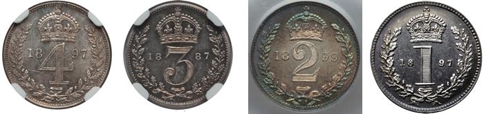 イギリス ヴィクトリア女王 4ペンス~1ペニー銀貨【裏】