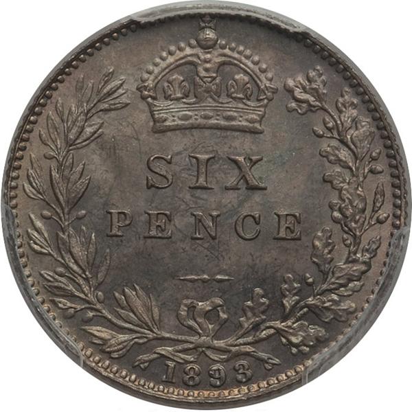 イギリス ヴィクトリア女王 6ペンス銀貨【裏】