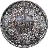 フランス 第二共和制 セレス 1フラン銀貨[Tone FDC]【裏面】